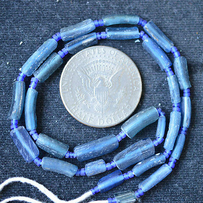 Ancient Roman Glass Fragment Beads 1 Strand Blue 100-200 Bc 0333