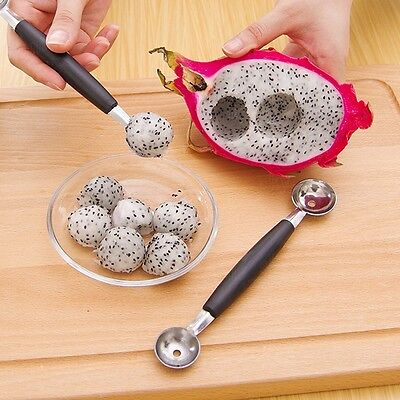 Stainless Steal Double Ended Melon Ball Scoop Fruit Spoon Ice Cream Scooper