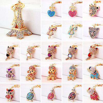 Cute Bling Charm Rhinestone Crystal Purse Bag Pendant Key Ring Chain Keychain