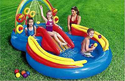Inflatable Swimming Pool Center Water Play Kids Baby Slide Outdoor Fun Intex New