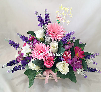 Mothers Day Flower Basket Gift Silk Flower Arrangement Artificial Lilac Mum Nan