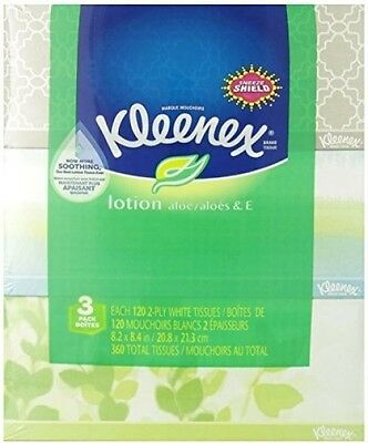 Kleenex Lotion Facial Tissue, 120 Count, (3 Pack)