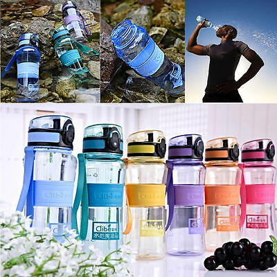 1000ml Travel Gym Outdoor Sport School Cycling Water Bottle Carry Strap BPA Free