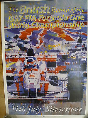 British Grand Prix Silverstone 1997 original poster with artwork by Dexter Brown