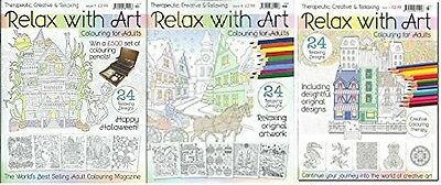 Relax With Art Colouring __ 3 Book Set __Issues 7,8 & 3__Brand New__Freepost Uk