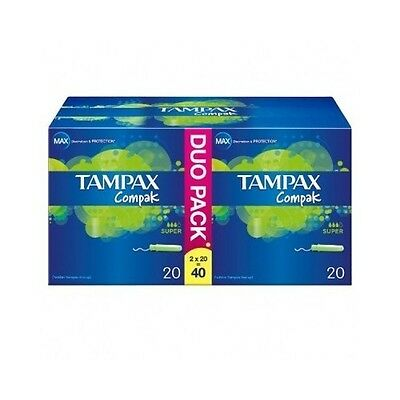 Tampax Compak Super Applicator Tampons 40Pcs Lasting Protection Prevent Leaking