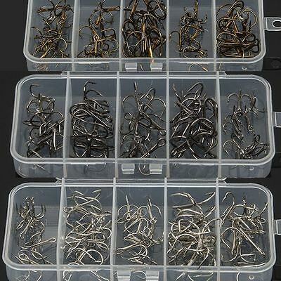 One Box 5 Sizes 2/4/6/8/10 Fishing Hook Sharpened Treble Hooks Fishhook Tackle