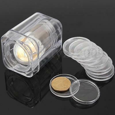 Clear Round Cases Coin Storage With 10 Small Round Boxes Capsules Holder Plastic
