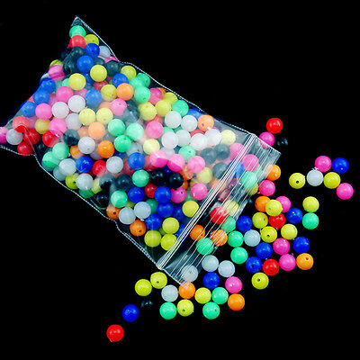 100X 6/8mm Round Soft Colorful Rig Beads Sea Fishing Lure Floating Float Tackles