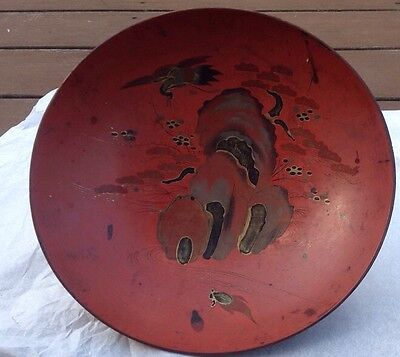 antique CHINESE PAINTED RED LACQUER Birds Black & Gold Gilt