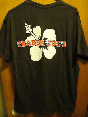 TRADER JOES ~ Large ~ Hibiscus Floral ~ Brown ~ Uniform T Shirt