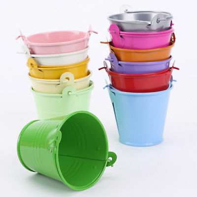 10 Candy Color Tin Wedding Party Favour Pails Candy Lolly 5cm Mini Buckets Box