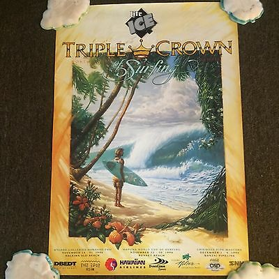 1994 Triple Crown Of Surfing North Shore Hawaii Poster Bill Ogden Xlnt Condition