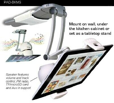 CTA 2-in-1 Kitchen Mount Stand with Bluetooth Speaker for Tablets