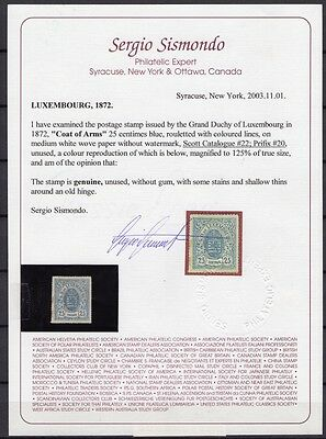 Luxembourg Mint 1872. 25Centime Sg 32 Cv £1,600 With Certificate Of Authenticity