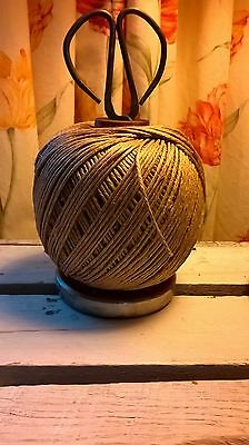 Upcycled Vintage Lancashire Wooden Mill  Bobbin Spool String and Scissors