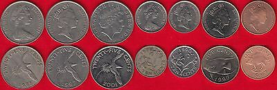 Bermuda set of 7 coins: 1 - 25 cents 1970-2009