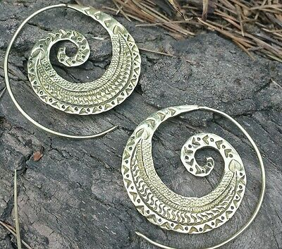 Spiral Engraved Brass  Earrings - Ethnic, Boho, Funky, Tribal