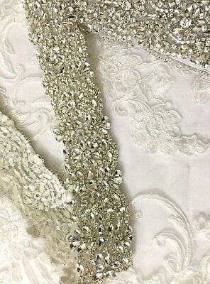 1 Yard Wedding Dresses Belts Crystal Rhinestone Pearl Bridal Sash Silver
