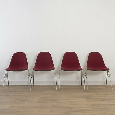 4 x (Set) Herman Miller Vintage Original Eames Red Side Chairs On Base Choice