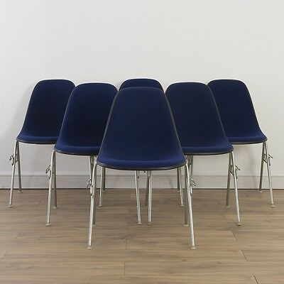 6 x (Set) Herman Miller Vintage Original Eames Blue Side Chairs On Base Choice