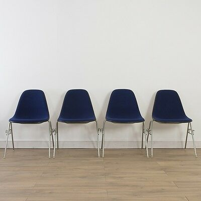 4 x (Set) Herman Miller Vintage Original Eames Blue Side Chairs On Base Choice