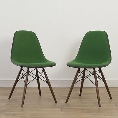 2 x (Pair) Herman Miller Vintage Original Eames Green Side Chair On DSW Base