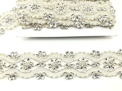 1 yard Pearl Bridal Belt Rhinestone Wedding Sash belt ,for bridal dresses, trim