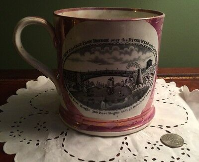 Early 180's LIVERPOOL TANKARD MUG TRANSFER-WARE Iron Bridge & Sailors Farewell
