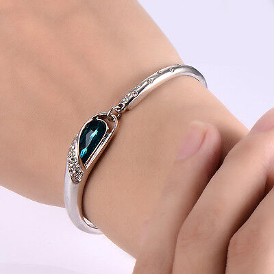kids child girl aquamarine crystal bracelet children jewelry white gold filled