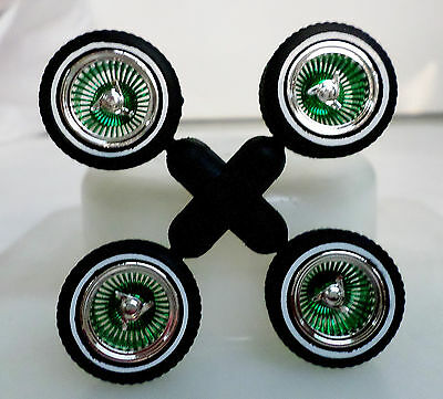 Hoppin Hydros 1/24 TwoTone CHROME & GREEN Ds Plastic Model Lowrider Rims Tires!