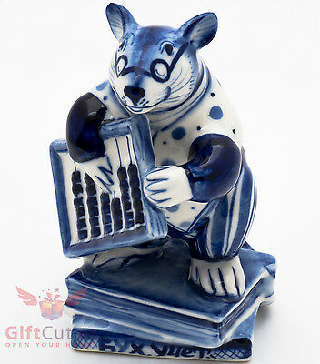 Gzhel Mice rat Accountant abacus Крыса Канцелярская porcelain figurine souvenir