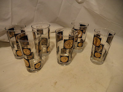 Set of 6 Gold And Black Dollar Coin High Ball Tumblers Mid Century Vintage