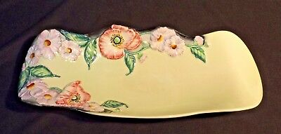 C1935 Carlton Ware 35.5 Cm Embossed Red Poppies Bowl Wavy Edge Good Condition