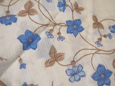 "36"" Round Vintage White Tablecloth w/ Forget Me Not Blue Flowers Nylon Polyester"
