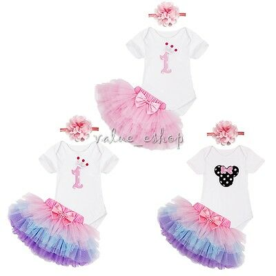 Baby Girl 3PCs 1st Birthday Romper set Tutu Dress Headband Outfit 0-12M
