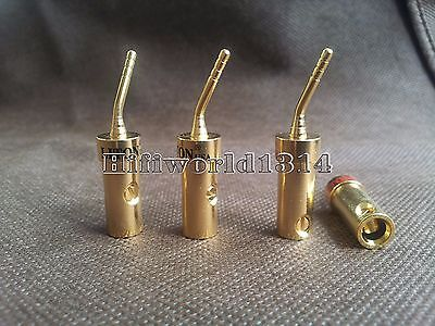 4p Copper Gold Plated Speaker Cable Pin Banana Terminal Connector Plug