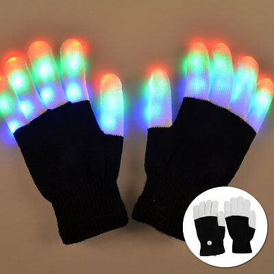 1 Pair LED Flashing Gloves Glow Light Up Finger Lighting Cool Rave Party xmas