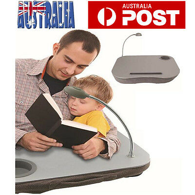 Portable Cushioned Laptop Lap Desk Table with LED Lamp Cushion Knee Tray