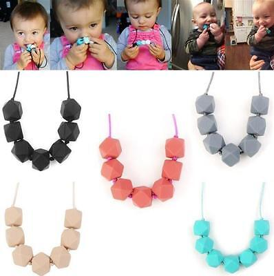 Baby Necklace Teething Cute BPA-Free Teether Charm Chain Silicone Beads Polygon