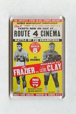 Old Boxing Poster Fridge Magnet - Joe Frazier vs Muhammad Ali aka Cassius Clay