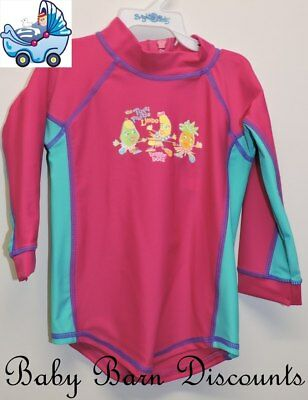 Bright Bots - Size 0 - Long Sleeve Rashie - Tutti Fruitie - Hot Pink/Aqua