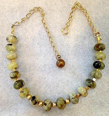 Vintage style real nephritis or jadeite stone beads necklace
