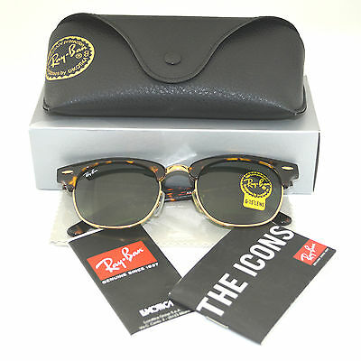 ray ban clubmaster rb3016 19i4  Ray Ban RB3016 Clubmaster W0366 Tortoise Green G-15 Glass Lens Sunglasses  51mm