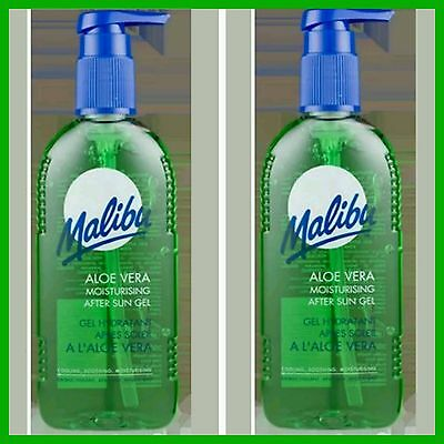 Malibu Moisturising After Sun Gel With Aloe Vera 2 x 200ml Bottles FAST FREE P&P