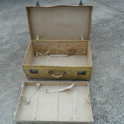 Very Large Vintage Steamer Trunk leather edges Travel Case Coffee Table