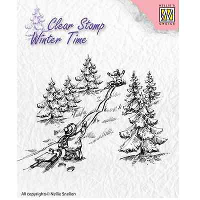 Nellie`s Choice Clearstamp - Winter Time Schlittenfahren WT003 (08-16) 102603