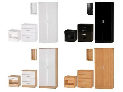 Galaxy High Gloss Bedroom Furniture Sets - 3 Piece Wardrobe Chest Bedside