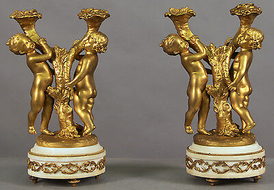 Pair of Bronze and Marble Two Lights Candelabra