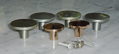 6 Vintage MCM Washington Copper & Nickle Convex Cabinet Drawer Pull Knobs